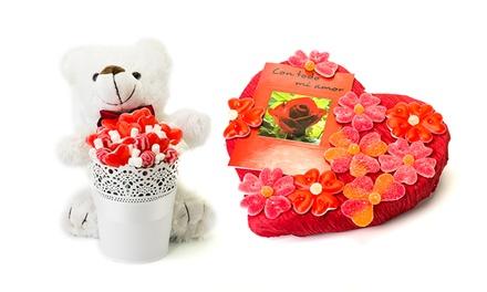 Ramo de flores, coração ou peluche de guloseimas desde 14,90€