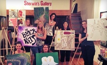 Wine & Painting Class for 1, 2, 4, or 8 or Private Wine & Painting Class for 18 at Sherwin's Gallery (Up to 70% Off)