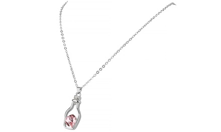Heart-Shaped Crystal in a Bottle Necklace with Swarovski Elements