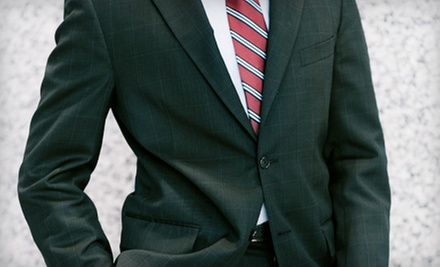 Men's Suits and Accessories at Status Menswear (Up to 57% Off). Three Options Available.