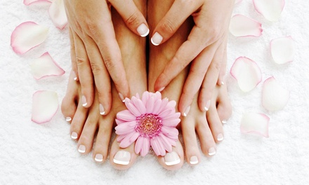 One or Two Hollywood Style Mani-Pedis at Spicy Nails (Up to 56% Off)