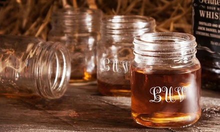 $15 for Four Personalized Mason Jar Shot Glasses from Funkypitaya ($30 Value)