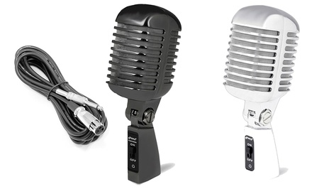 Pyle Vintage-Style Die-Cast Metal Dynamic Microphone with 16Ft. XLR Cable in Black or Silver. Free Returns.