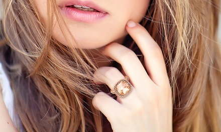4 CTTW Cushion Cut Crystal Morganite and Marcasite Ring in 18K Rose Gold Plated Brass