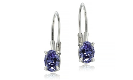 1.10 CTW Genuine Oval Tanzanite Leverback Earrings in Sterling Silver