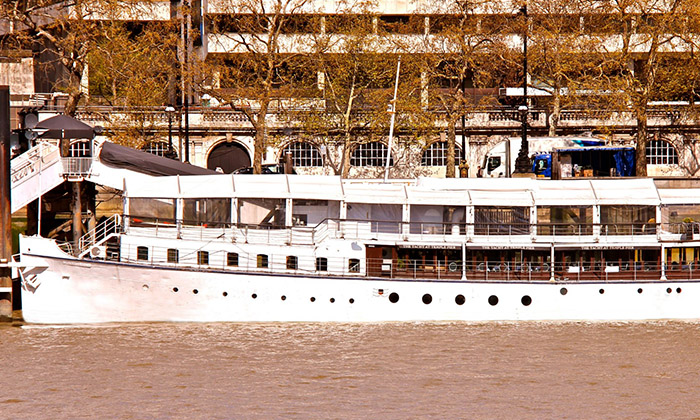 Dinner on the Thames For Two - The Yacht London | Groupon