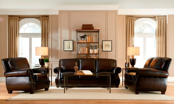 3 piece leather living room set groupon for 5 piece living room packages