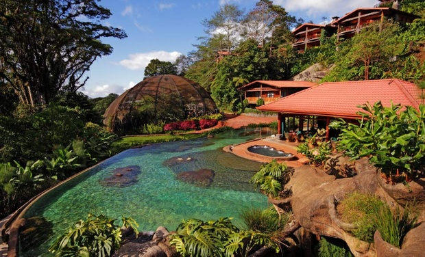 TripAlertz wants you to check out 3-, 4-, or 5-Night Stay for Two at Peace Lodge in Costa Rica. Combine up to 10 Nights. 4-Star Nature Lodge near Waterfalls and Volcano - Costa Rica Nature Lodge