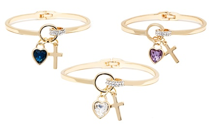 Swarovski Elements Heart and Cross Bangle Bracelets