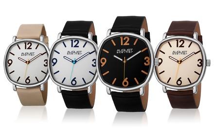 August Steiner Men's Modern Leather Strap Watches