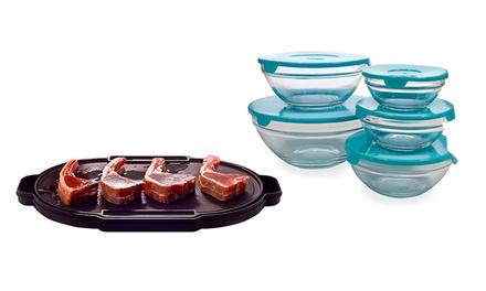 Conjunto de 5 caixas de vidro e prato de descongelamento por 29,95€