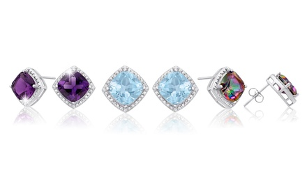 3.75 CTTW Cushion Halo Genuine Gemstone and Diamond Earrings in Sterling Silver