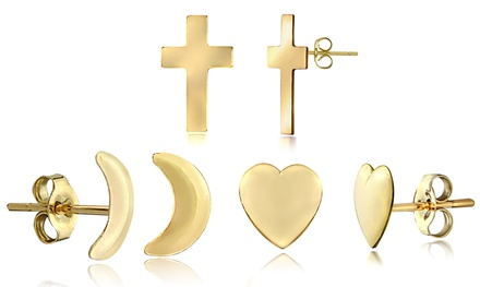 Moon, Arrow, Cross, or Heart Earrings in 14K Gold