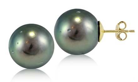 Tahitian Cultured Pearl Stud Earrings in 14K Yellow Gold