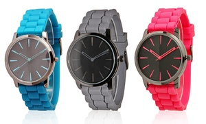 Two-tone Silicone-strap Watch For Men And Women