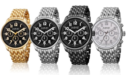 August Steiner Men's Swiss Multifunction Bracelet Watch