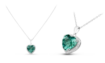5.21 CTTW Green Amethyst and Diamond Accent Heart Necklace in Sterling Silver