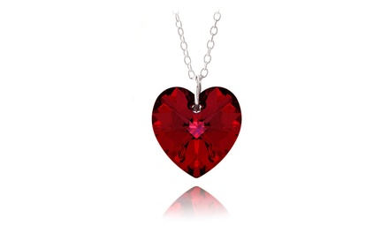 Heart Pendant with Ruby Red Swarovski Elements Crystal in Sterling Silver