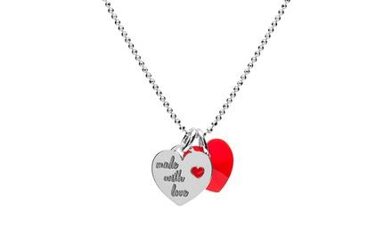 Colar com coração prateado e coração de cristal Swarovski Elements por 14,99€ ou dois colares por 24,99€