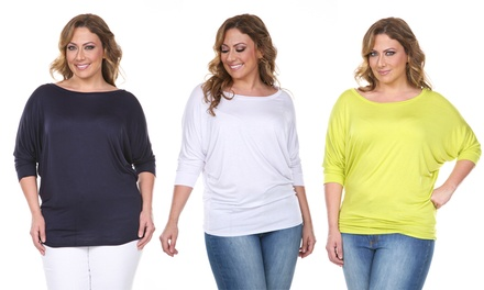 Women's Plus-Size 3/4-Sleeve Tunic Top