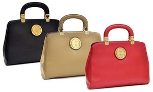 Dasein Franklin Metal Hinge Handle Tapered Briefcase With Removable Shoulder Strap