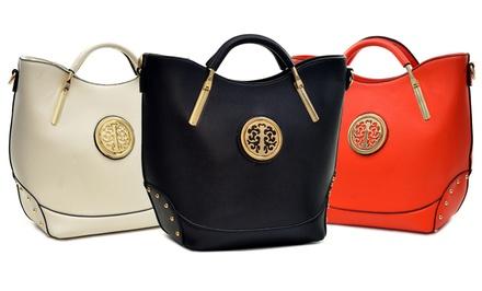 6th Ave Gold-Tone Classic Hinge Handle Flat Bottom Tote Handbag