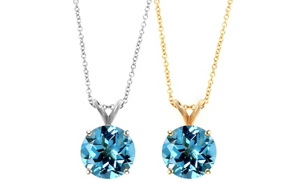 1.00 CTW Round Genuine Blue Topaz Gemstone Pendant