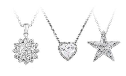 Colar com cristais em pingente quadrado, de flor, de estrela ou de coração por 9,99€