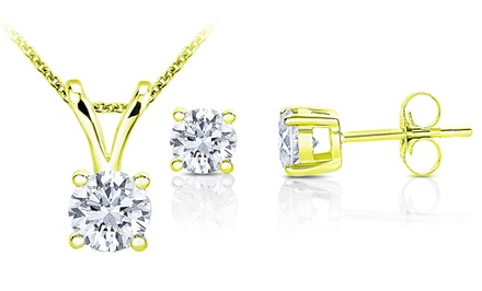 1.00 CTTW Diamond Solitaire Pendant & Earring Set in 10K Gold