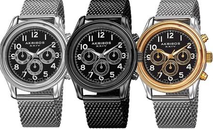 Akribos XXIV Men's Mesh Swiss Multifunction Bracelet Watch