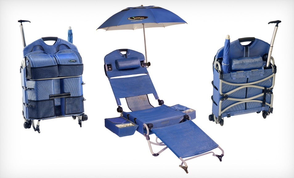 Loungepac folding beach chair on wheels with speakers published on 07 02 2013