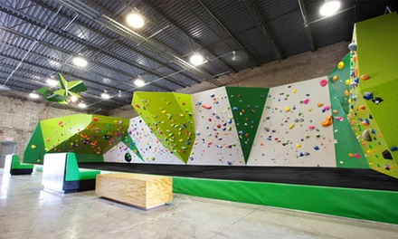 Indoor Rock Climbing, Intro to Bouldering Lesson, or One or Three Months of Unlimited Climbing at Kinetic Climbing & Fitness (59% Off)