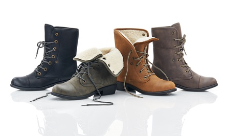Sociology Faux-Shearling-Lined Women's Combat Boot | Groupon Exclusive