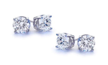 One or Two Pairs of 2.00 CTTW Genuine White Topaz Stud Earrings in Sterling Silver from $5.99–$7.99