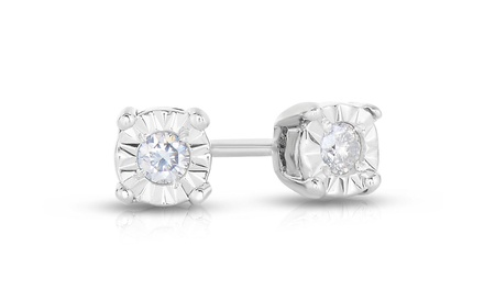 1/10 CTW Diamond Stud Earrings in Sterling Silver