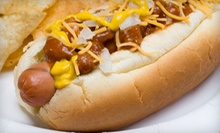 Hot Dogs, Pizza, and Drinks at Orange Tree Hot Dogs (Half Off). Two Options Available. 