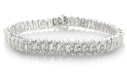 0.5 CTTW Bold and Heavy Diamond Bracelet in Platinum Plated Brass