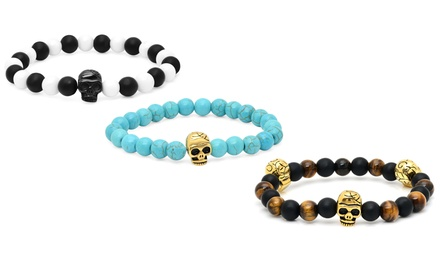 Men's Beaded Bracelet with Skull Accent