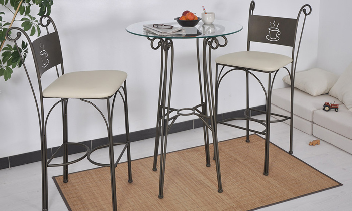 Table et chaises caf groupon shopping for Table haute et chaises