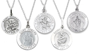 Italian Sterling Silver Saint Medallion Pendant Necklaces