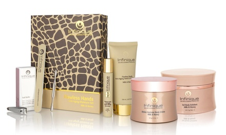 Infinique Flawless Hands Milk & Honey Anti-Aging Manicure Set, Body Crème, and Body Scrub Bundle