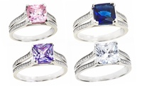 GROUPON: Princess-Cut Colored Cubic-Zirconia Rings Princess-Cut Colored Cubic-Zirconia Rings