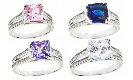 Princess-Cut Colored Cubic-Zirconia Rings