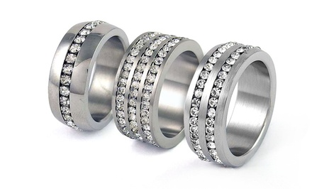 Stainless Steel and Cubic Zirconia Unisex Bands. Multiple Options Available from $14.99–$16.99.