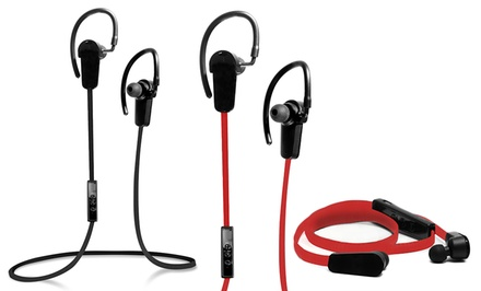 Jarv Nmotion Sport Wireless 4.0 Bluetooth Stereo Earbuds with Inline Mic in Black or Red