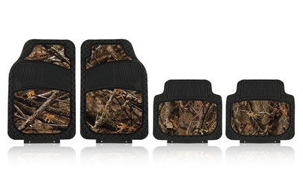 4-Piece Heavy-Duty All-Weather Rubber Auto Floor Mat Set with Forest Camouflage Pattern