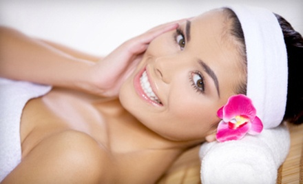 Gel Manicure and Blowout with Organic Facial or Spray Tan at Karma Salon & Spa in Lake Hiawatha (Up to 86% Off)