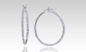 0.15 Cttw Diamond Inside-outside Sterling Silver Hoop Earrings. Free Returns.