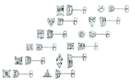 12-Pair Set of Cubic Zirconia Stud Earrings in Sterling Silver