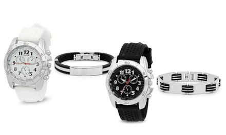 Men's Stainless Steel Watch and Bracelet 2-Piece Set